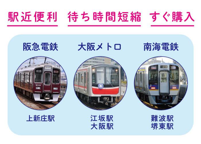 駅近便利 すぐ購入 大阪メトロ 南海dん哲阪急電鉄 上新庄駅 堺東駅